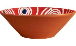 Salad Bowl in ceramic, red with patterns