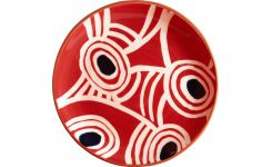 Dessert plate in ceramic, red with patterns