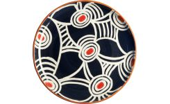 Plat in ceramic, blue with patterns