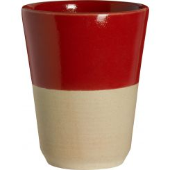 Small tumbler made in sandstone, natural and red