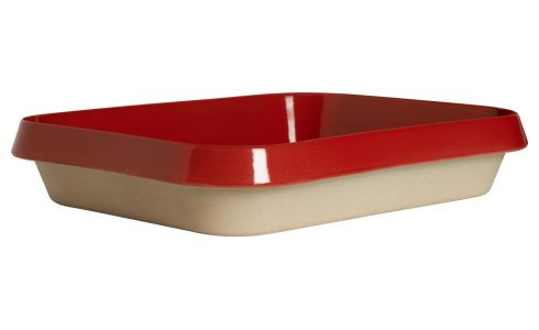 Oven plate made of sandstone, red and naturel, 1.8L