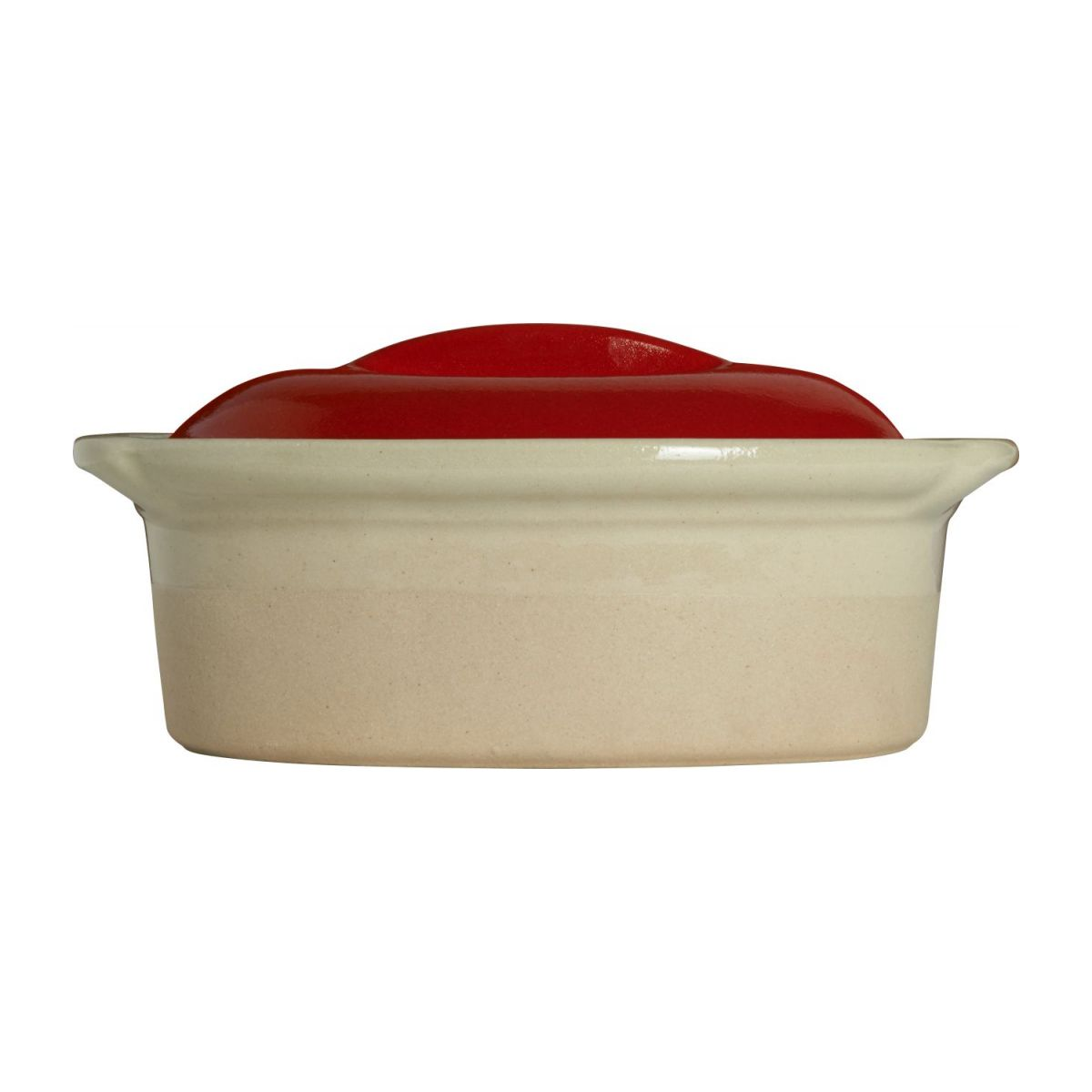 Terrine plate made in sandstone, natural and red n°4