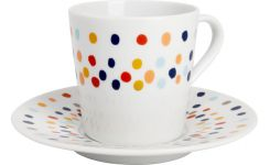 Coffee cup and saucer in porcelaine, white