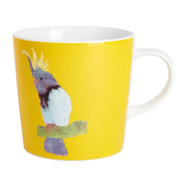Mug in porcelain, yellow with patterns n°2