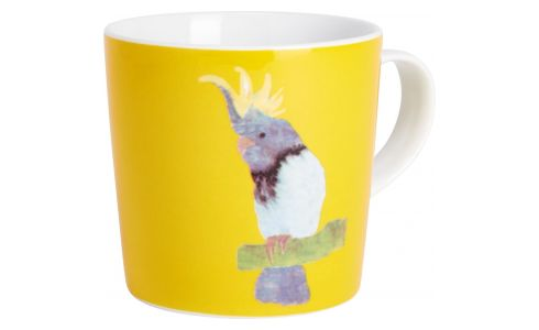 Mug in porcelain, yellow with birds