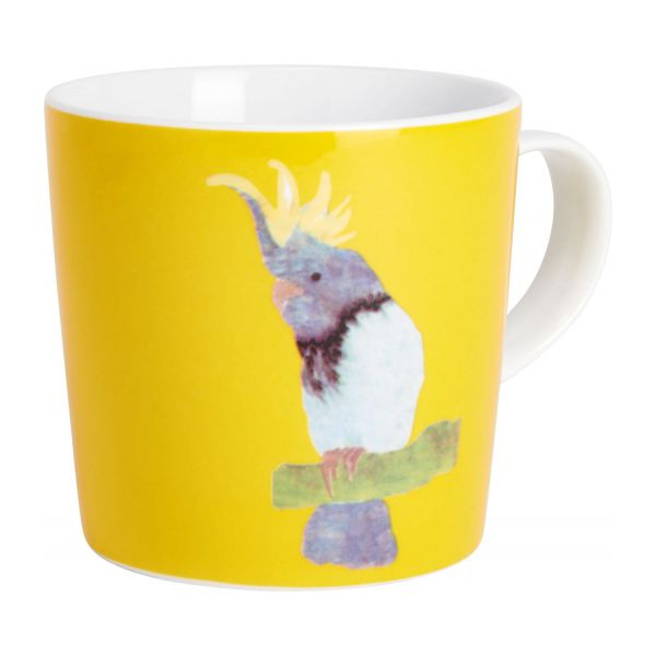 Mug in porcelain, yellow with patterns n°1