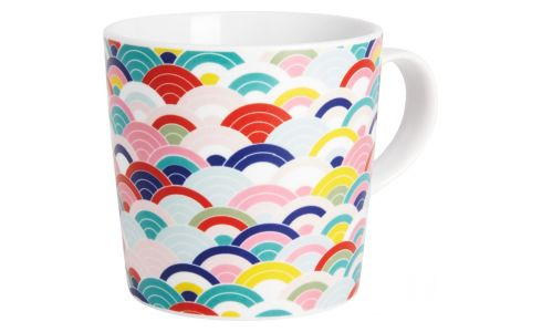 Mug in porcelain with rainbow patterns