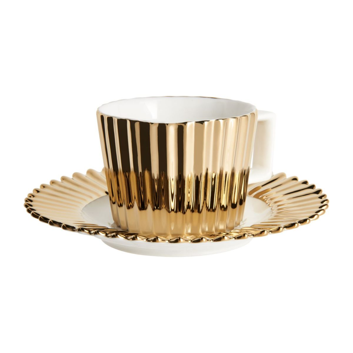Coffee cup in porcelain, gold n°1