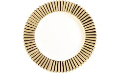 Dessert plate in porcelain, gold 23cm