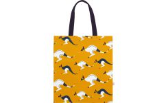 Shopping bag 35x40cm, yellow with patterns