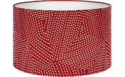 Lampshade 40cm, red with white patterns