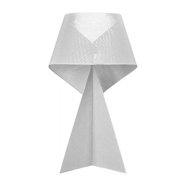 Lampe de table 50cm en métal blanc perforé n°2