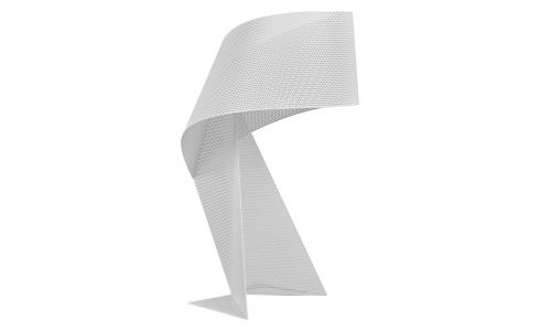 Lampe de table 50cm en métal blanc perforé
