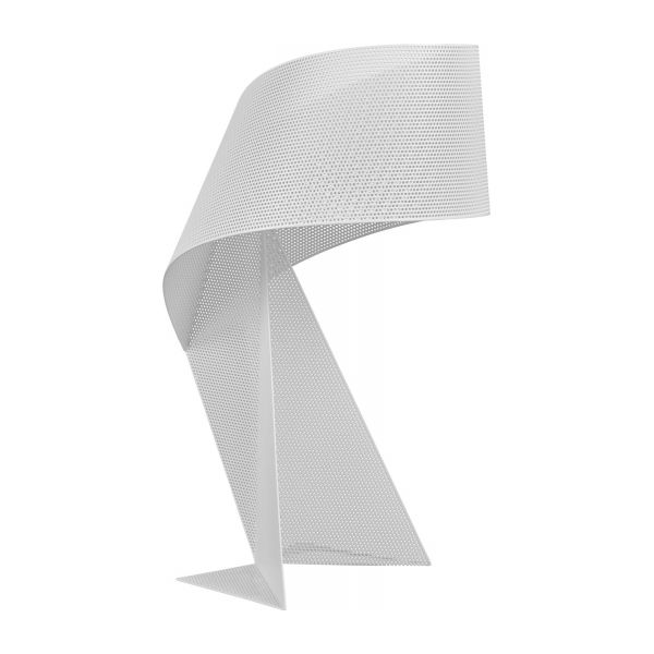 Lampe de table 50cm en métal blanc perforé n°1