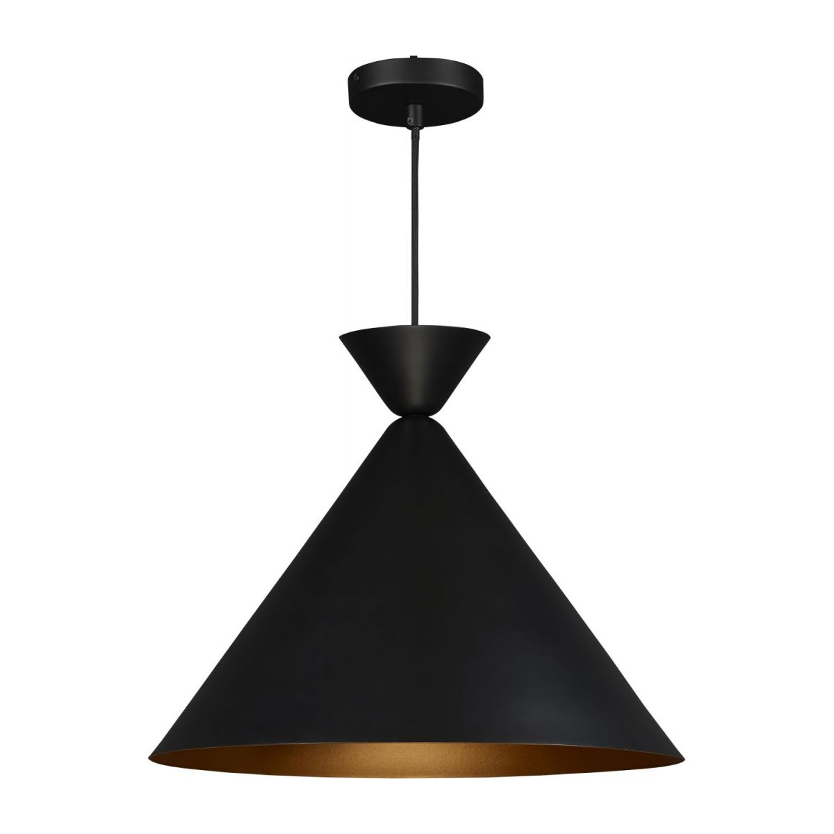 Triangular ceiling lamp, black and gold n°1