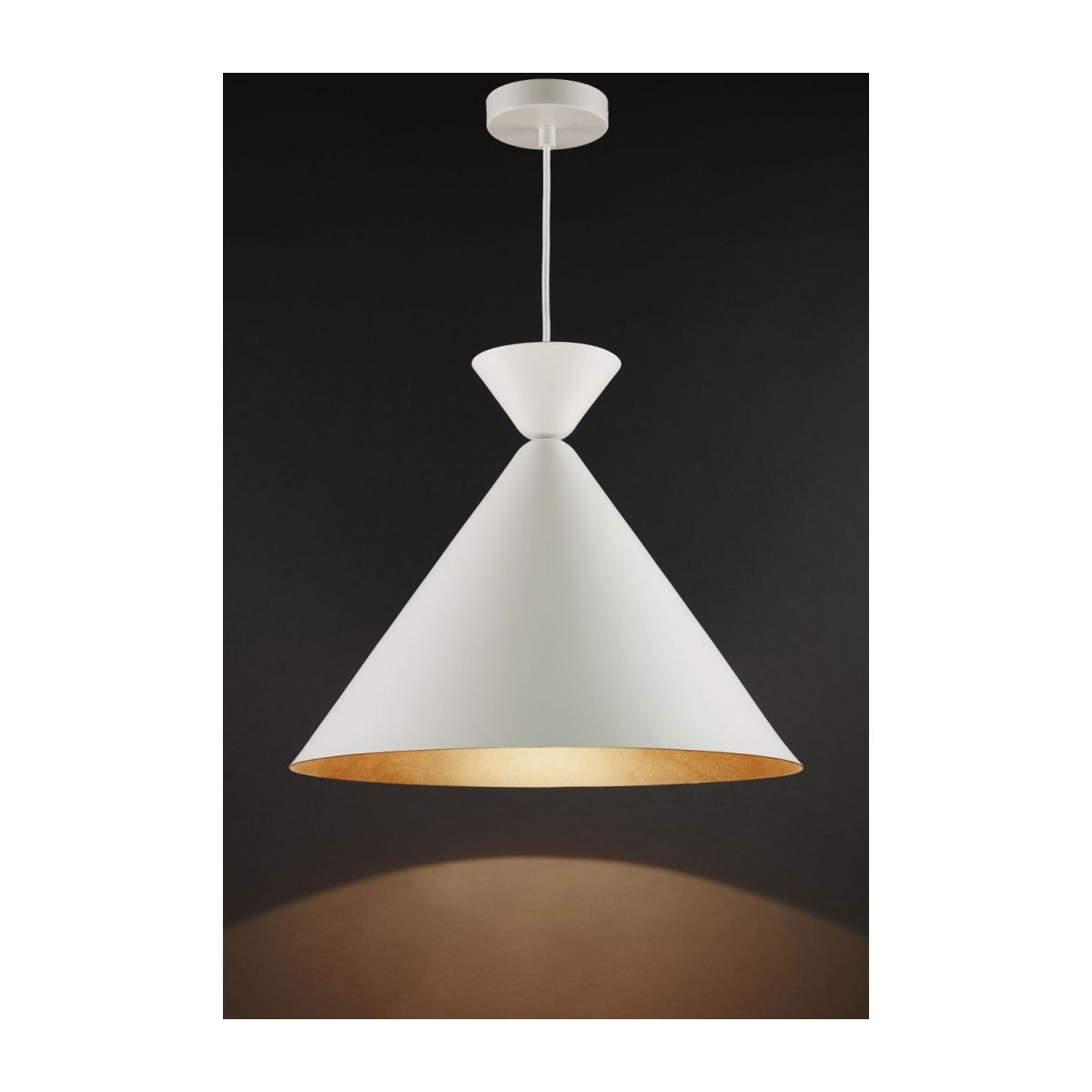 Triangular ceiling lamp, white and copper n°2