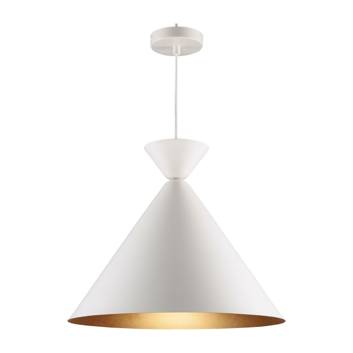 Triangular ceiling lamp, white and copper n°1