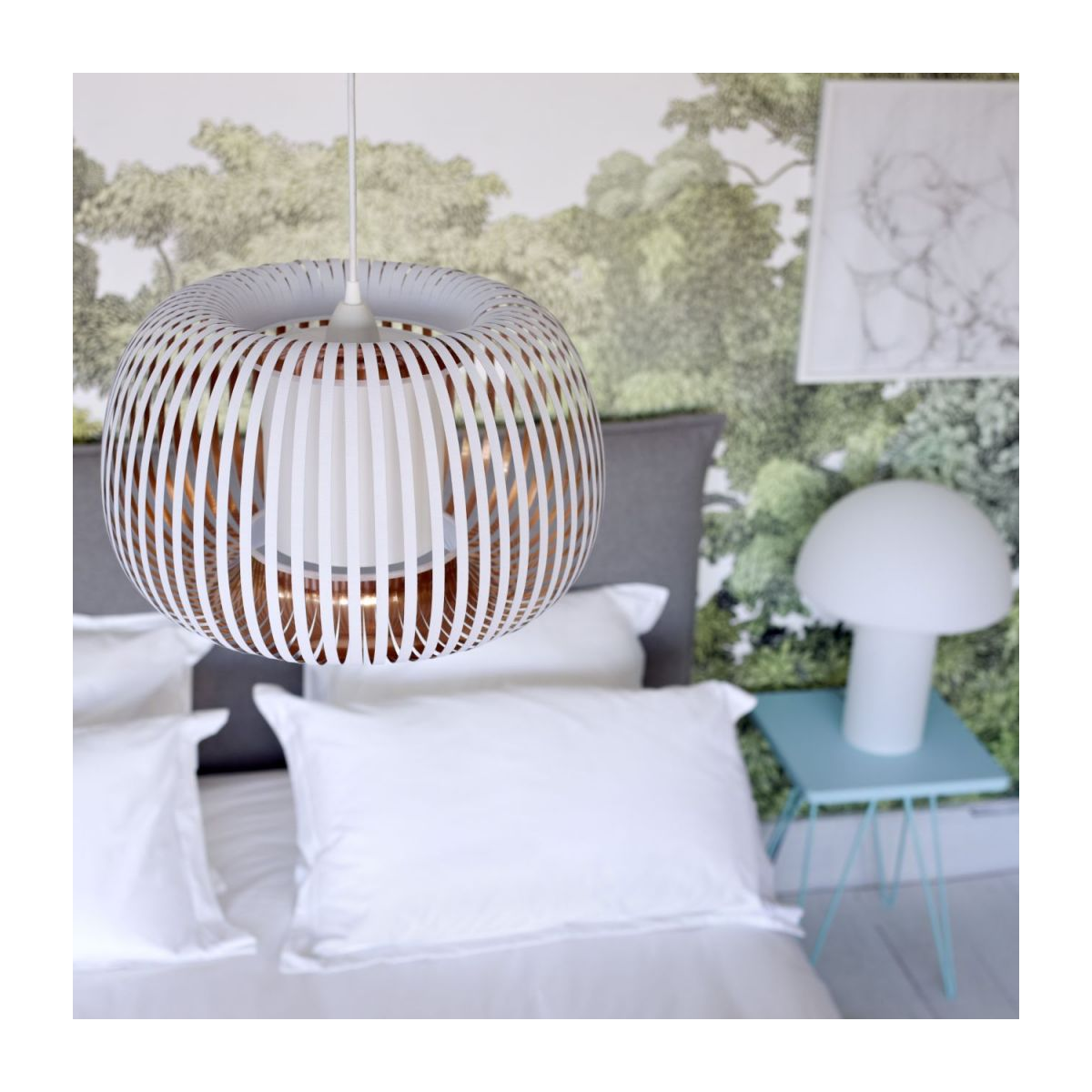 Ceiling lamp in PVC, white and copper n°5