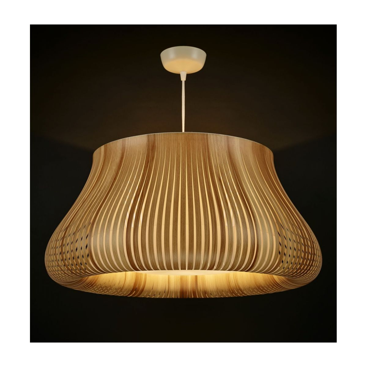 Ceiling lamp in PVC, natural wood n°2