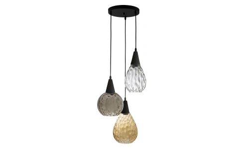 Ceiling lamp made of glass, tricolor
