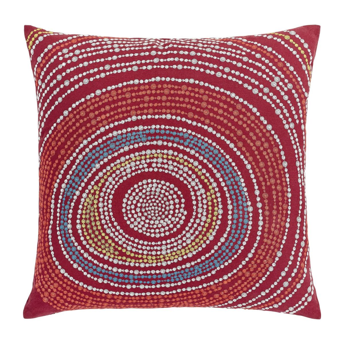 Cushion 45x45cm, red with patterns n°1