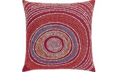 Cushion 45x45cm, red with patterns