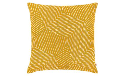 Cushion 50x50cm, yellow with patterns