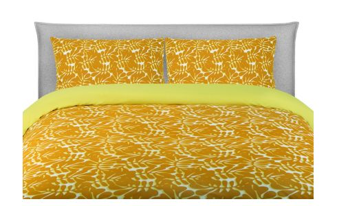 Bedlinen with yellow patterns 200x200 - 2 pillowcases 65x65