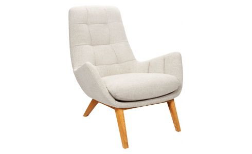 Armchair in Lecce fabric, nature with oak legs