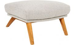Footstool made of fabric, off white oak legs