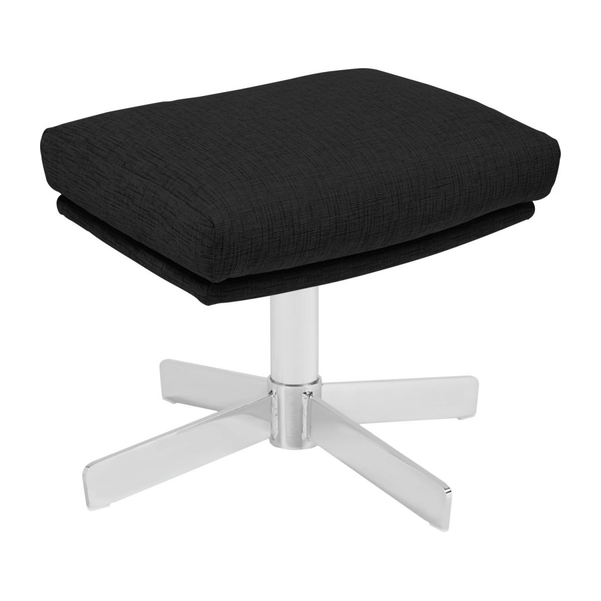 Footstool in Ancio fabric, nero with metal cross leg n°1