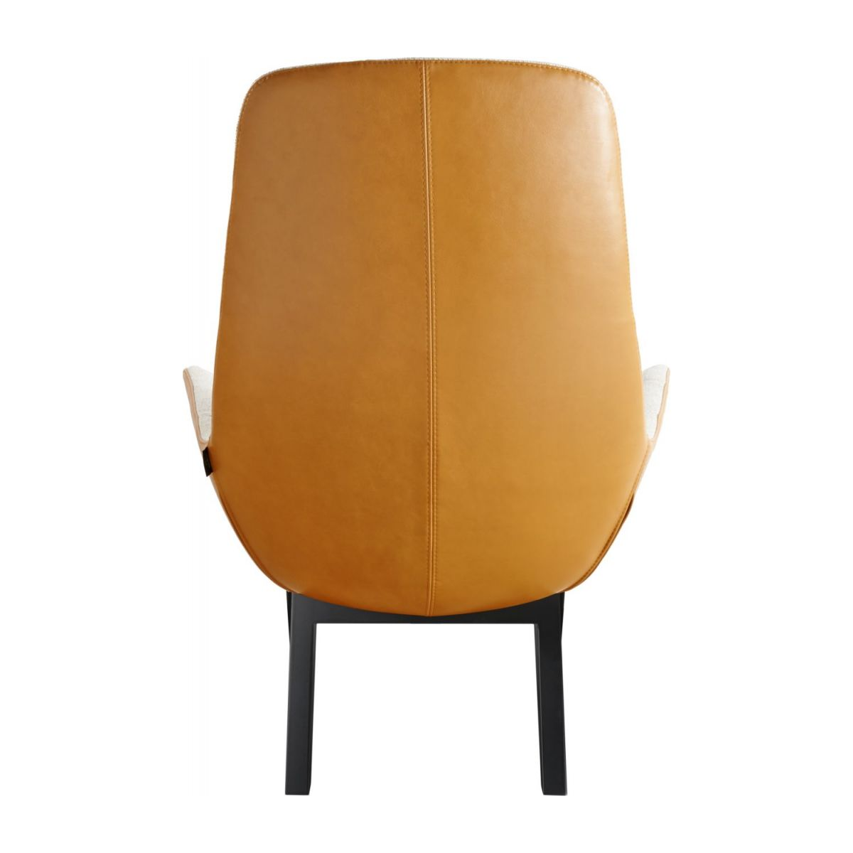 Armchair in Lecce fabric, nature and cognac vintage leather with dark oak legs n°3
