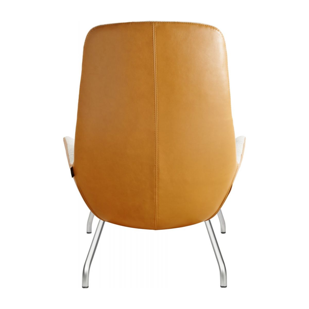 Armchair in Lecce fabric, nature and cognac vintage leather with matt metal legs n°3