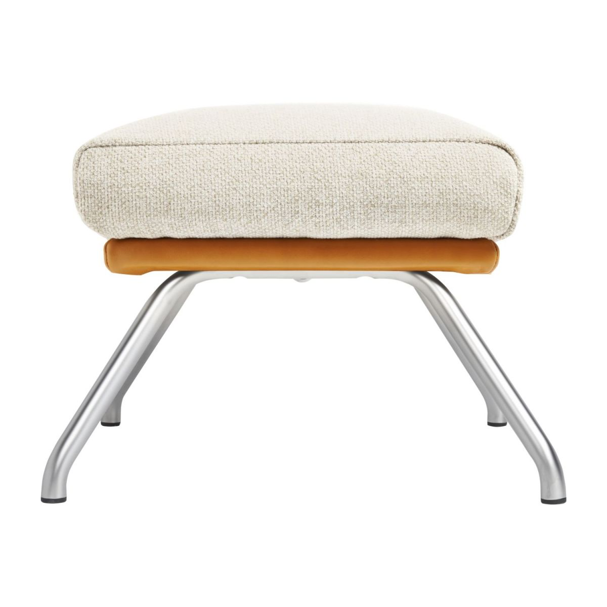 Footstool in Ancio fabric, nature et cuir marron with matt metal legs n°3