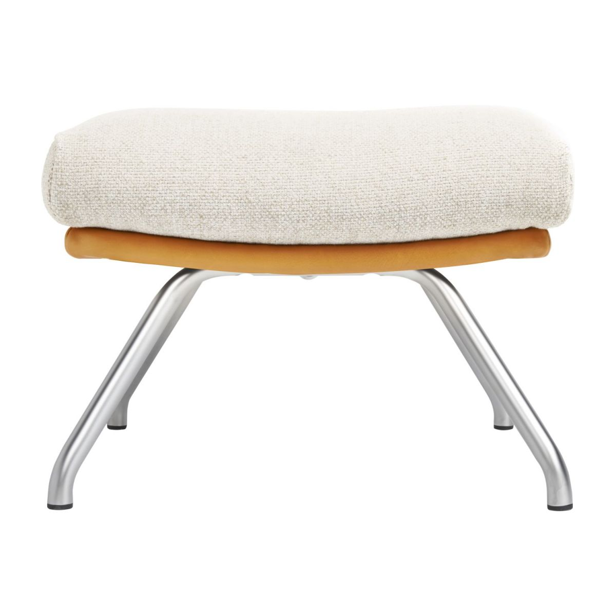 Footstool in Ancio fabric, nature et cuir marron with matt metal legs n°2