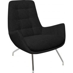 Armchair in Ancio fabric, nero with chromed metal legs