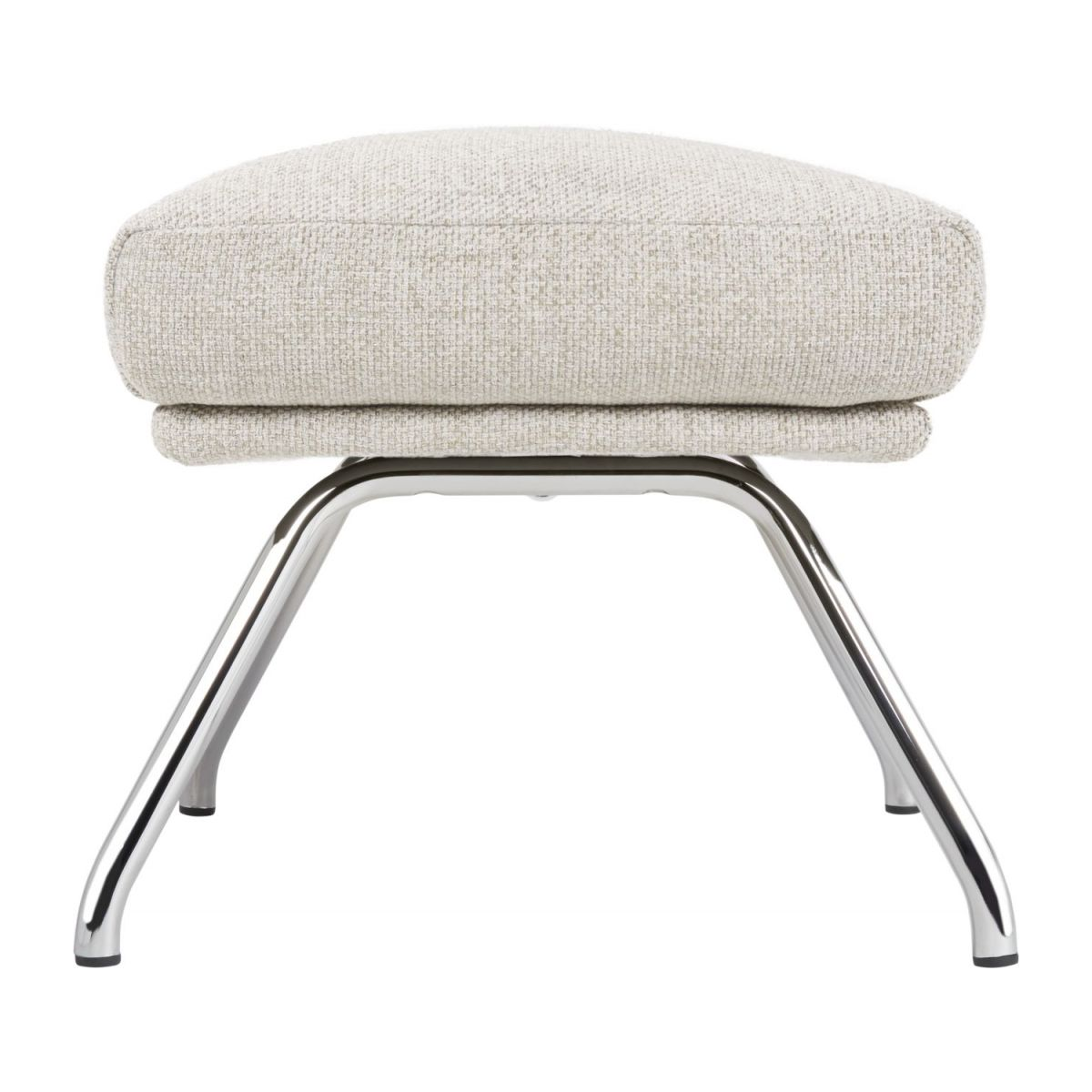 Footstool in Lecce fabric, nature with chromed metal legs n°3