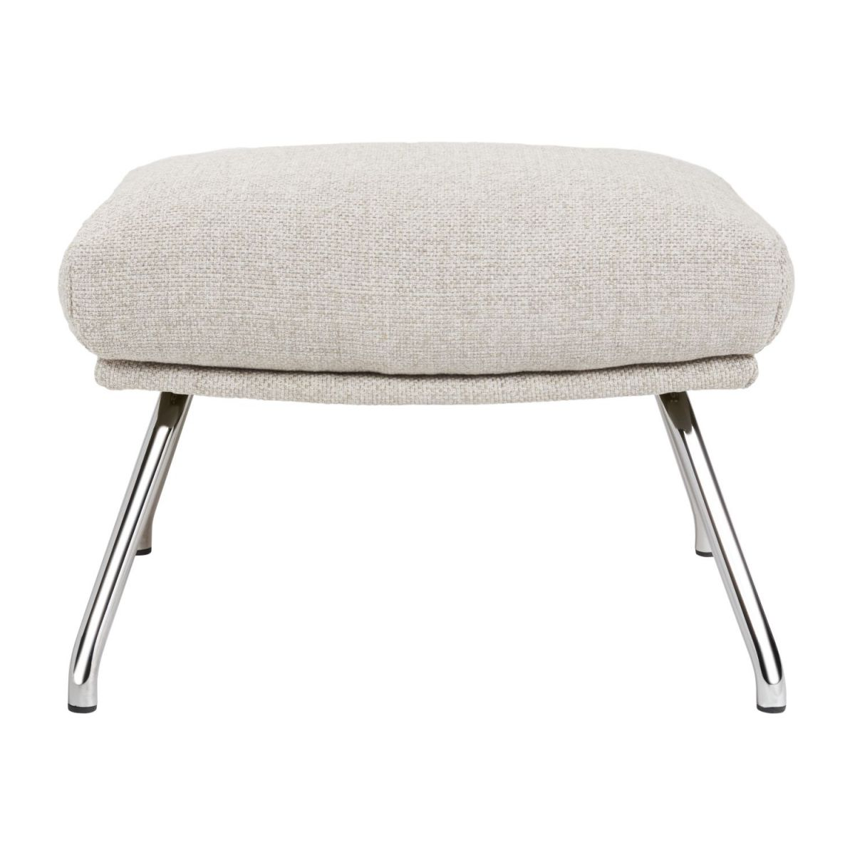 Footstool in Lecce fabric, nature with chromed metal legs n°2