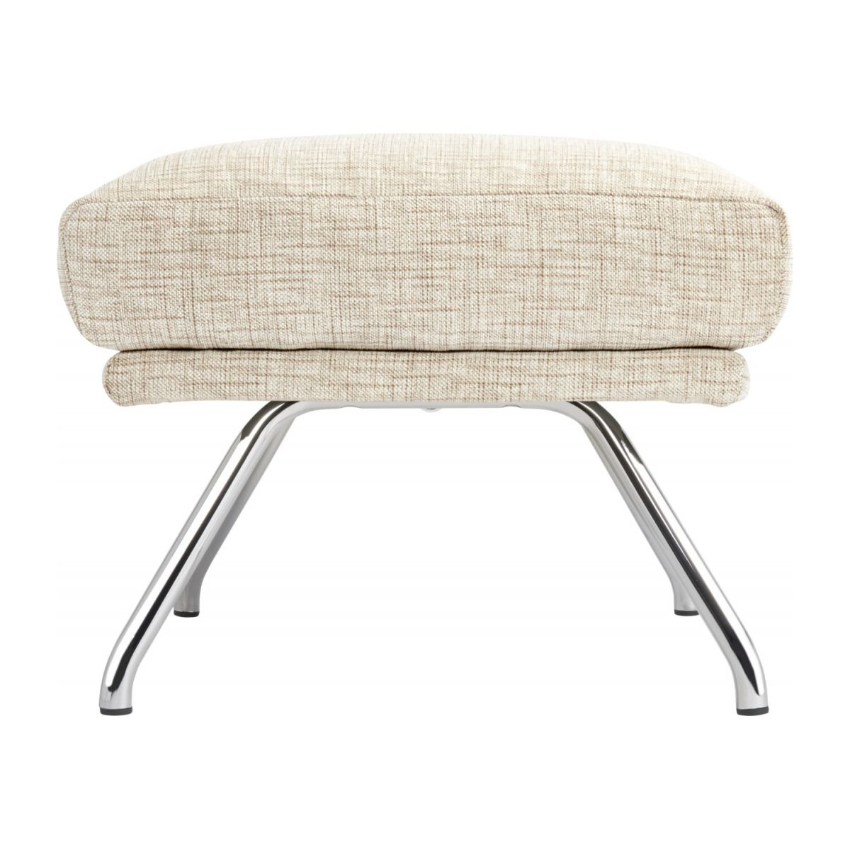 Footstool in Ancio fabric, nature with chromed metal legs n°3