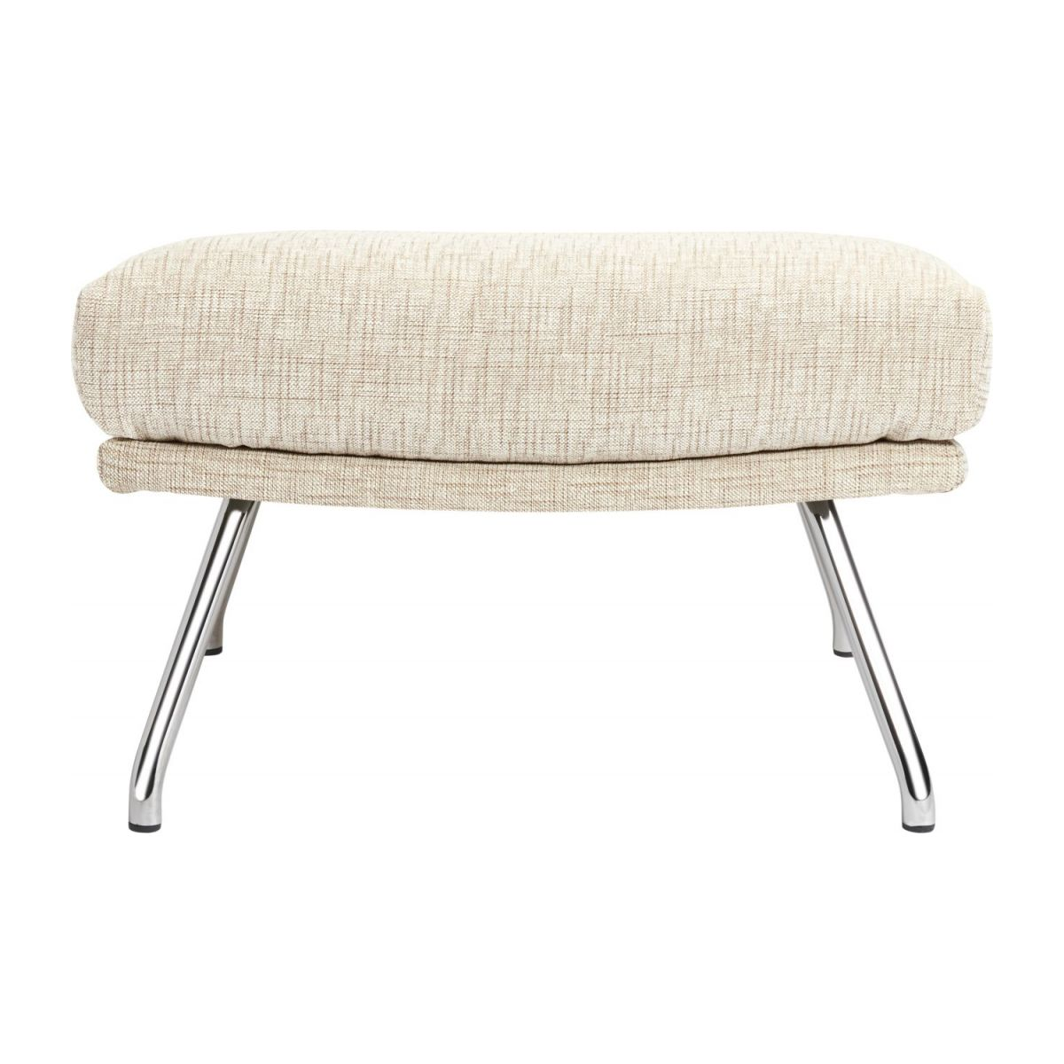 Footstool in Ancio fabric, nature with chromed metal legs n°2