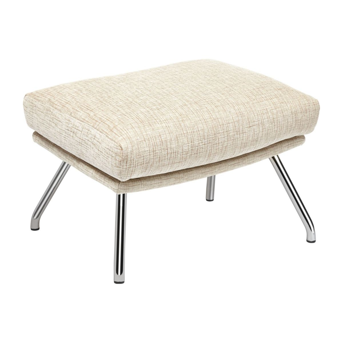 Footstool in Ancio fabric, nature with chromed metal legs n°1