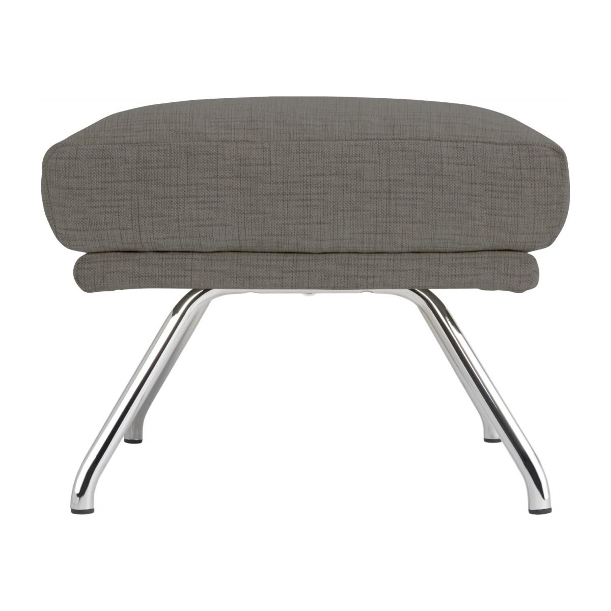 Footstool in Ancio fabric, river rock with chromed metal legs n°4
