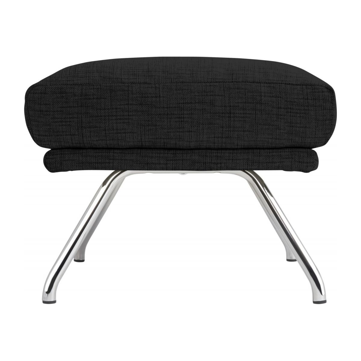 Footstool in Ancio fabric, nero with chromed metal legs n°4