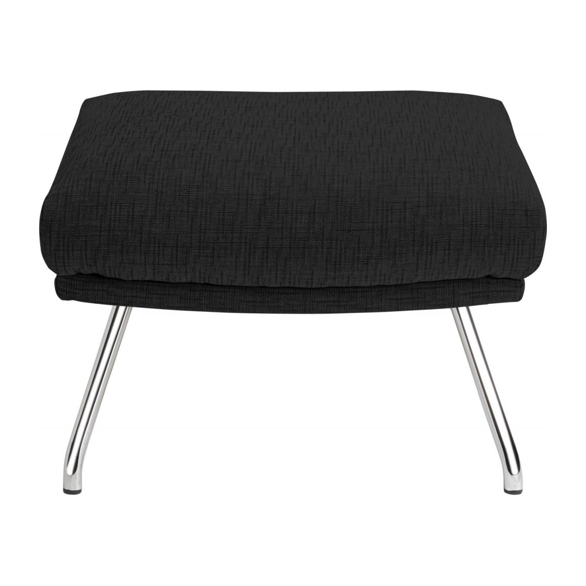 Footstool in Ancio fabric, nero with chromed metal legs n°2