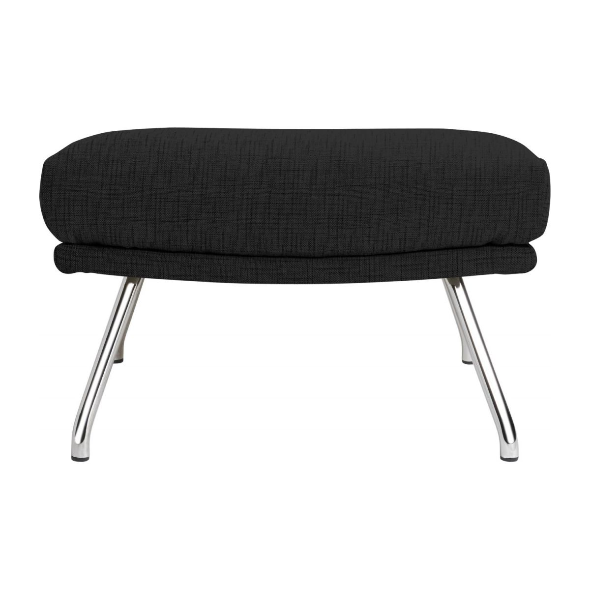 Footstool in Ancio fabric, nero with chromed metal legs n°3