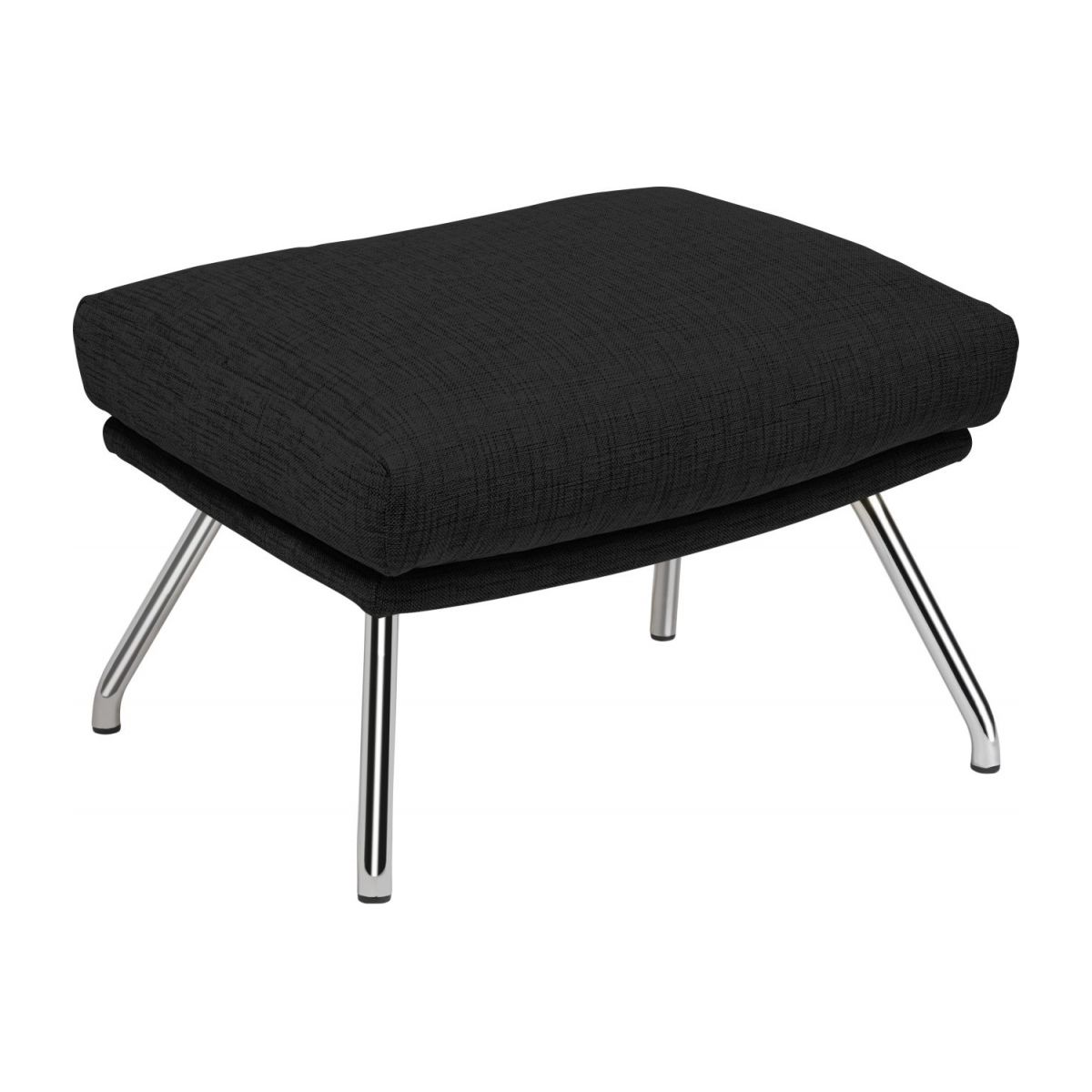 Footstool in Ancio fabric, nero with chromed metal legs n°1