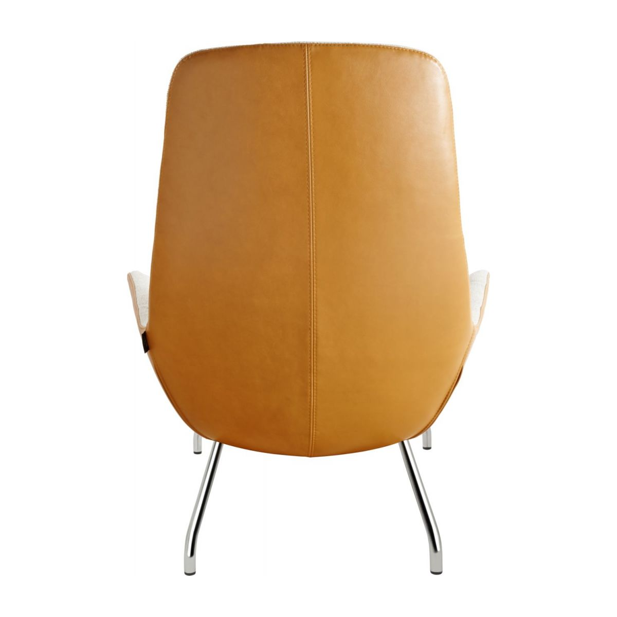 Armchair in Lecce fabric, nature and brown vintage leather with chromed metal legs n°3