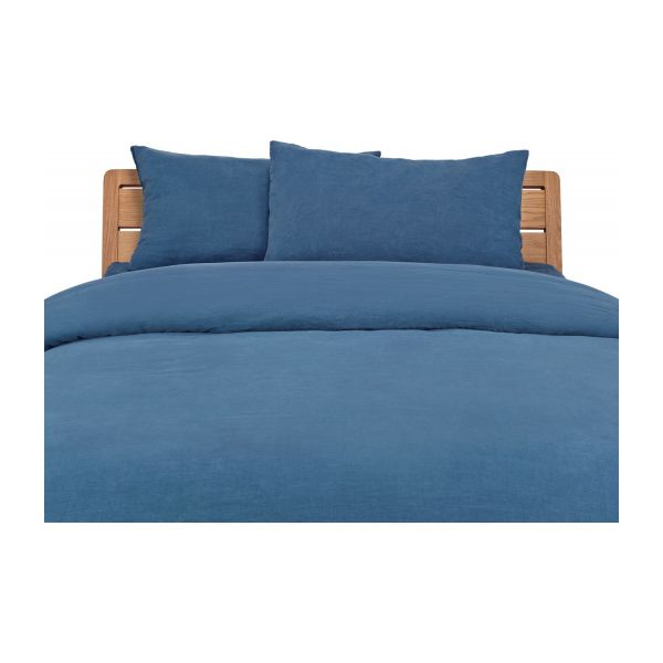 linen housse de couette 240x220 bleu marine habitat. Black Bedroom Furniture Sets. Home Design Ideas