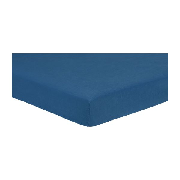 linen drap housse 160x200 bleu marine habitat. Black Bedroom Furniture Sets. Home Design Ideas