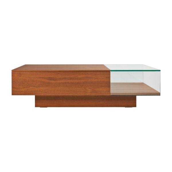 Akira table basse en verre et noyer habitat for Habitat table basse